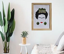 Obrazy - Abstraktný obraz / portrét / Frida  s vylisovanými sedmokráskami - 13287411_