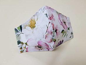 Rúška - Dizajnové bavlnené rúško - Flowers premium (Biela zahrada) - 13286774_
