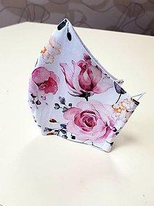 Rúška - Dizajnové bavlnené rúško - biele ružové ruže - 13289694_