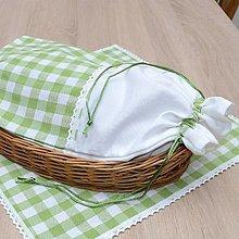 Úžitkový textil - DORA - zelené káro veľké - vrecko na chlieb 25x43 - 13287146_