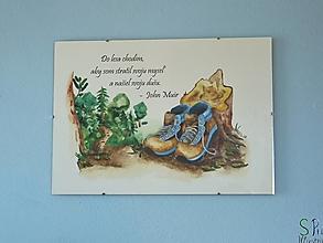 Obrazy - Turistické topánky s lesom a citátom Johna Muira, akvarel, art print, nástenná dekorácia do domu - 13287717_
