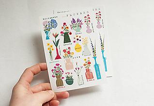 """Papier - Pohľadnica s nálepkami """" flowers"""" - 13287617_"""