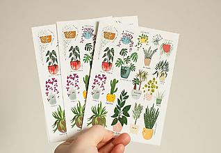 """Papier - Pohľadnica s nálepkami """"izbovky"""" - 13287752_"""