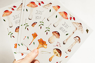 """Papier - Pohľadnica s nálepkami """"jedlé huby"""" - 13287867_"""