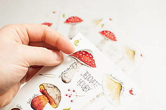 """Papier - Pohľadnica s nálepkami """"jedovaté huby"""" - 13287907_"""