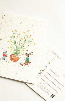 """Papier - Špeciálna kvitnúca pohľadnica """"Kamilky & Zajo"""" - 13288089_"""