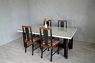 Nábytok - Polorecy jedálenský stôl + 4 recy stoličky - 13288919_