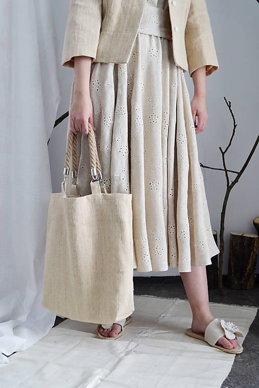 Shopper upcy taška z konope so zapletanými ramienkami