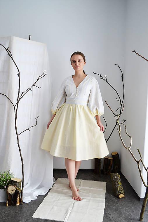Upcyklované bavlnené krepové šaty  s riasenou sukňou