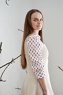 Košele - Upcy bavlnená blúzka s drobným vzorčekom - 13286015_