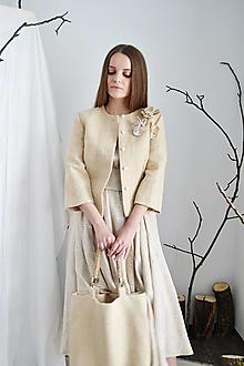 Kabáty - Krátke  upcy sako  s kvetmi z konope - 13286075_