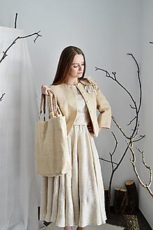 Nákupné tašky - Shopper upcy taška z konope so zapletanými ramienkami - 13286107_