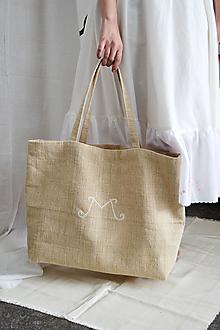 Veľké tašky - Maxi upcy taška z konope s vyšívaným logom - 13286130_