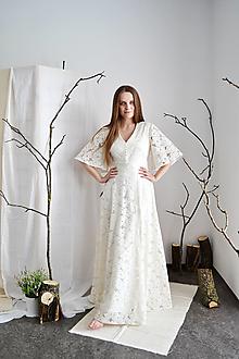 Šaty - Svadobné  šaty z kvetovanej smotanovej krajky a viskózy - 13286203_
