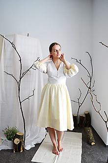 Šaty - Upcyklované bavlnené krepové šaty  s riasenou sukňou - 13286220_