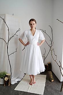 Šaty - Svadobné midi šaty z hodvábneho voálu a tencelu (+ kvetovaný opasok) - 13286366_