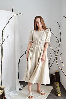Šaty - Madeirové romanticky rustikálne šaty zo zmesi ľanu, viskózy a bavlny (+ opasok) - 13289620_