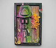 Obrazy - Zelený dom s kvetom - 13292323_