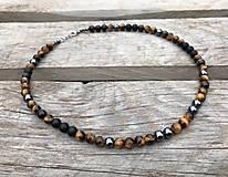 Šperky - Pánsky náhrdelník - tigrie oko, hematit, ónyx - 13290865_