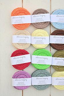 Úžitkový textil - ekologické odličovacie tampóny, 4kusy, rôzne farby - 13290599_