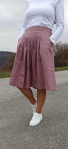 Sukne - Ľanová skladaná sukňa (možnosť inej farby) - 13293333_