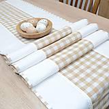 Úžitkový textil - DORA - béžové káro veľké - stredový obrus 170x40 - 13290597_