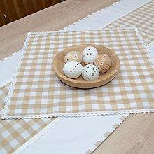 Úžitkový textil - DORA - béžové káro veľké - štvorcový obrúsok 40x40 - 13290623_