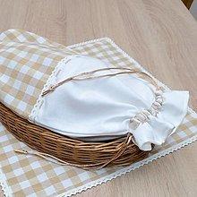 Úžitkový textil - DORA - béžové káro veľké - vrecko na chlieb 25x43 - 13291110_