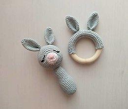 Hračky - Zajačik: hrkálka a hryzátko - 13292550_