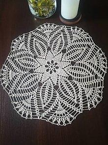 Úžitkový textil - Háčkovaný béžový stredový obrus - 13296067_