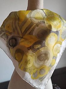 Šatky - Hodvábna šatka Žltý abstrkt - 13296894_