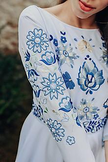 Šaty - Svadobné šaty modré kvety Vajnory - 13294980_
