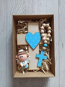 Dekorácie - Darček pre dieťa Set krížik a ruženec a anjelik na prvé sväté prijímanie alebo krst - 13294782_
