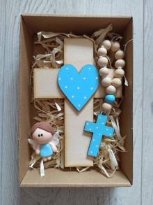 Dekorácie - Darček pre dieťa Set krížik a ruženec a anjelik na prvé sväté prijímanie alebo krst - 13294809_