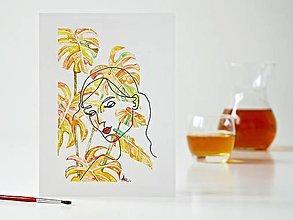 Obrazy - Monstera a Dáma 5, akvarel, 18 x 24 cm - 13294271_