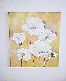 Obrazy - Biele maky, 50 x 55 cm, akryl - 13294924_