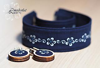 Sady šperkov - Set modrotlač náhrdelník+náramok+naušnice - 13296865_