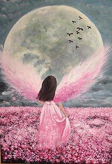 Obrazy - Anjel v ružovom - 13297269_