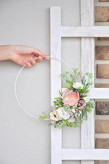 Dekorácie - dekoračný kruh, biela-ružová - 13298362_