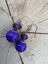 Náušničky guličky fialové