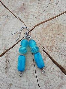Náušnice - Náušničky pásiky modré - 13294396_