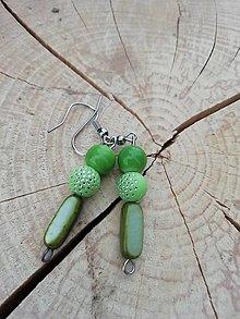 Náušnice - Náušničky pásiky zelené - 13294411_