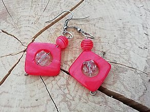Náušnice - Náušničky štvorčeky červené - 13295052_