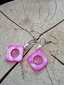 Náušnice - Náušničky štvorčeky ružové - 13295131_