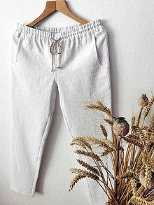 Nohavice - Ľanové nohavice - biele - 13298164_