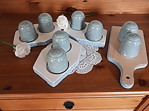 Dekorácie - Sada na sůl a pepř romantická modrozelená - 13297565_