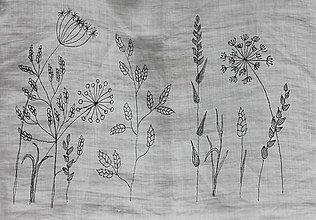 Topy - Ľanový top Na lúke / Ručne maľované bylinky /veľkosť S cca 36-38 - 13294774_