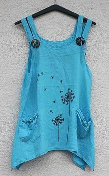Tuniky - Tyrkysový ľanový top ručne maľovaná tunika Veľkosť: M - 13294898_