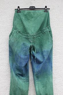 Tehotenské/Na dojčenie - Univerzálne tehotenské batikované ľanové nohavice - 13295262_