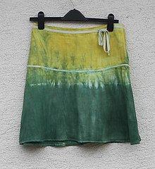 Sukne - Batikovaná ľanová sukňa 76 cm obvod pása - 13295320_